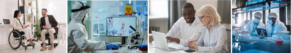 4 pictures of mentoring situations: Asian woman in a wheelchair talking with Caucasian man; lab worker in full PPE on a webchat with older female physician; Black young man is talking with an older Caucasian woman; two lab workers wearing PPE are talking in a lab.